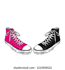 Beautiful hand-drawn sneakers. Vector illustration for a card or poster, print on clothes. Hand-drawn.