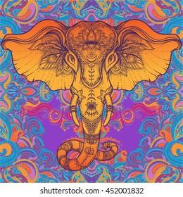 Beautiful hand-drawn tribal style elephant. Colorful paisley design, boho mandala patterns, ornaments. Ethnic background, spiritual art, yoga. Indian god Ganesha, Thai symbol. T-shirt print, posters