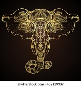 Beautiful Handdrawn Tribal Style Elephant Tattoo Stock Vector