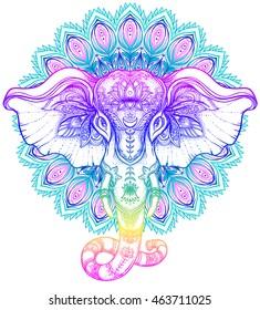 Beautiful hand-drawn tribal style elephant over mandala. Colorful design with boho pattern, psychedelic ornaments. Ethnic poster, spiritual art, yoga. Indian god Ganesha, Indian symbol. T-shirt print.