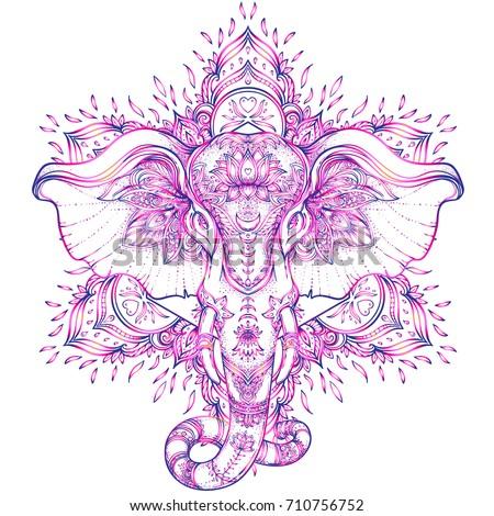 2b01a2b6 Beautiful hand-drawn tribal style elephant over mandala. Colorful design  with boho pattern,