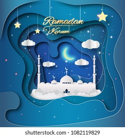 Beautiful hanging shiny lanterns on blue background, Wallpaper design on the occasion of Muslim's Holy Month Ramadan Kareem. Paper art, mosque under half moon.