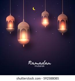 Beautiful hanging shiny lanterns on dark background, Wallpaper design on the occasion of Muslim's Holy Month Ramadan Kareem.