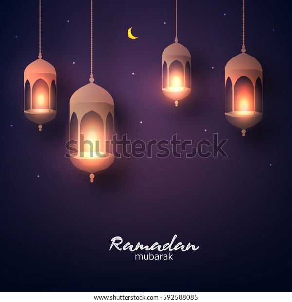Beautiful Hanging Shiny Lanterns On Dark Stock Vector Royalty