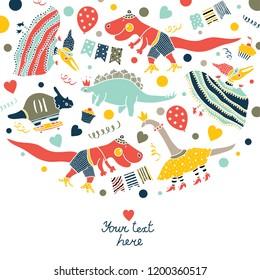 Beautiful happy birthday greeting card with dinosaur.
