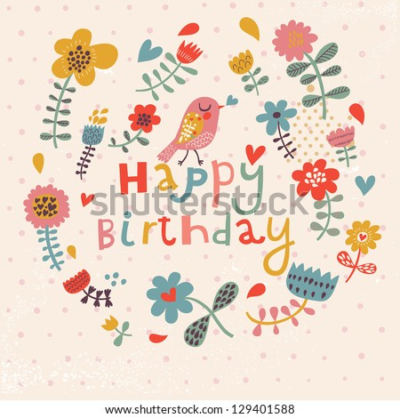 beautiful happy birthday greeting card with flowers and bird vector party invitation with floral elements - Happy Birthday Cards Flowers