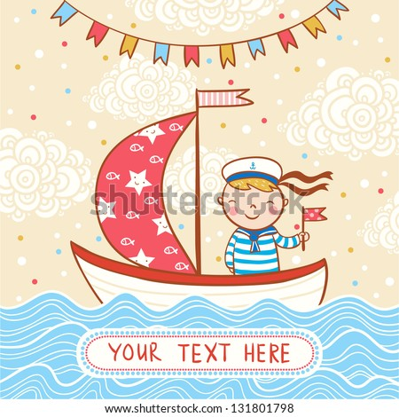 Beautiful Happy Birthday Greeting Card Boy Stock Vector Royalty