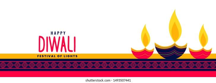 beautiful happy diwali long banner with decorative three diya lamps