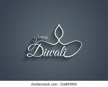 Beautiful Happy Diwali text design. vector illustration