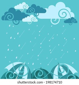 Beautiful Happy Monsoon Season concept with floral design decorated clouds and umbrellas on rainy green background.