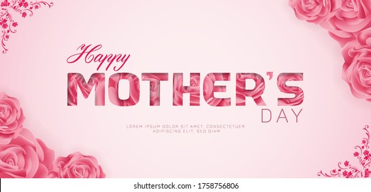 Beautiful Happy Mothers Day Vector Banner ad design Template