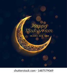 beautiful happy muharram golden islamic background design