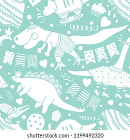 Beautiful happy seamless pattern  with dinosaurs. Cool party!