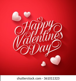 Beautiful Happy Valentines Day Typography Title in Red Background with Long Shadow and Cute White Hearts. Vector Illustration