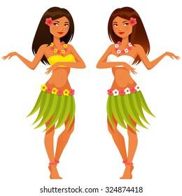 beautiful Hawaiian girl dancing in traditional costume