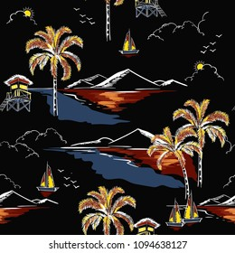 Beautiful hawaiian seamless island pattern vector. Landscape with palm trees,beach and ocean vector hand drawn style on black color background for fashion fabric and all prints.