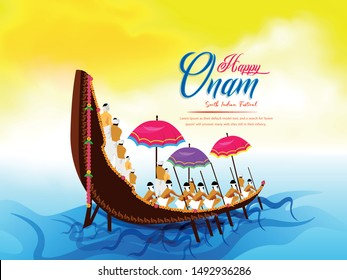 Beautiful header of illustration for south  Indian festival Happy Onam ,  background for race snake boat of south Indian culture.