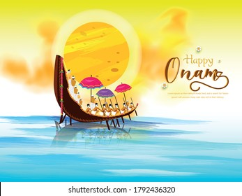 Beautiful header of illustration for south Indian festival Happy Onam , background for race snake boat of south Indian culture