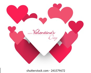 Beautiful heart shaped sticky design on white background for Happy Valentine's Day celebrations.