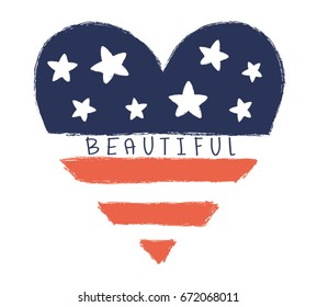 Beautiful heart vector design,fashion print