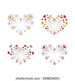 Beautiful heart-fireworks set. Bright romantic salute isolated on white background. Love decoration flat firework. Symbol of Valentine Day celebration, holiday, wedding Vector illustration