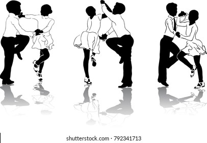 Beautiful high detailed figures of young dancers drawn manually.