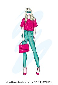 Beautiful high in pants, glasses and a shirt. Stylish clothes and accessories. Fashionable woman. Vector illustration. Fashion & Style. Fashion look.