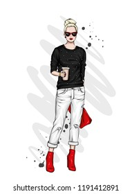 Beautiful high in pants, glasses and a sweatshirt. Stylish clothes and accessories. Fashionable woman. Vector illustration. Fashion & Style. Fashion look.