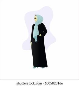 beautiful hijab model with black dress