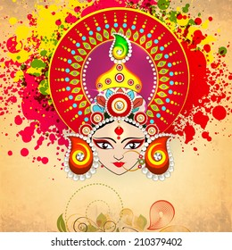 Beautiful hindu mythological Goddess Durga on floral decorated colors splash background for Dussehra festival celebrations.