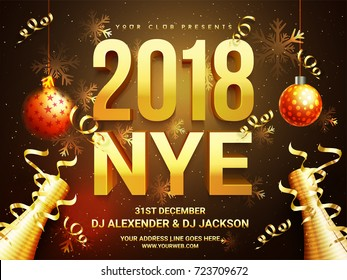 Beautiful Holiday Background With 3D Golden Text 2018 NYE (New Year Eve),  Hanging