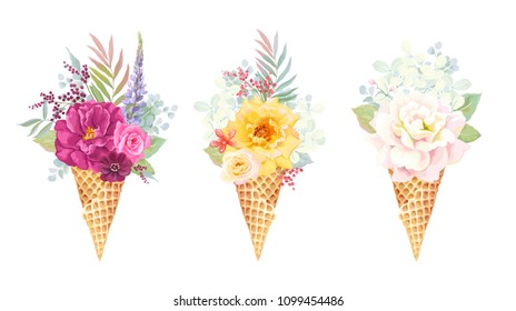 Beautiful holiday collection with delicate bouquet of colorful roses, branches and leaves in waffle cone ice cream, vector floral illustration. Invite template on white background for your design.