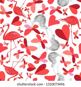 Beautiful holiday pattern for the Day of all lovers with butterflies and flamingos among red hearts. An example for the design of a poster, postcard or web site.