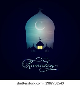 Beautiful holy festival eid and ramadan background. Mosque silhouette in night sky and abstract light for ramadan of Islam. Ramadan kareem greeting card with mosques. Moon in night sky and mosque