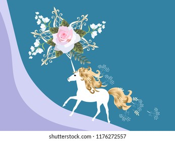 Beautiful horizontal card with magical unicorn, pink rose and bell flowers flowers in vector. Space for text. Wedding invitation.