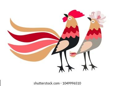 Beautiful horizontal card with stylized chickens - funny rooster and hen, isolated on white background in vector.