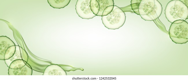 Beautiful, horizontal, green, realistic cucumber background with splashes of liquid for advertising banners and cosmetics advertisements.