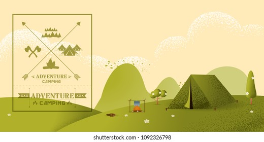 Beautiful horizontal Nature landscape. Morning landscape in the mountains. Solitude in nature by the hill. Weekend in the tent. Hiking and camping. Vector texture style concept illustration.