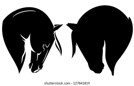 beautiful horse head profile - black vector outline and silhouette