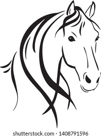 Beautiful horse head vector in black and white illustration