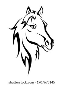 Beautiful horse vector isolated on white. Hairy horse head. Horse tattoo design.