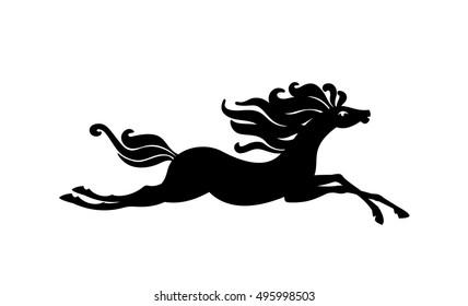 Beautiful horse. Vector silhouette.