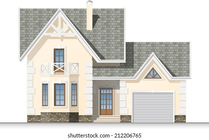 Beautiful house with a mansard and garage. Facade. Front view.