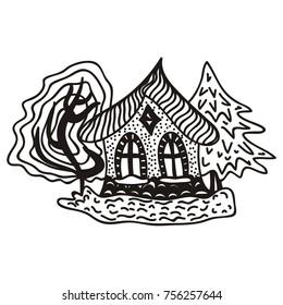 Beautiful house. Vector illustration.