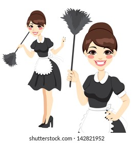 Beautiful housewife in classic maid dress costume holding a feather duster isolated on white background