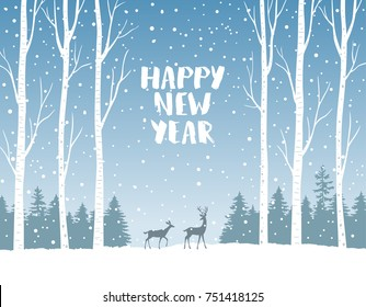 Beautiful illustration with amazing deer in winter forest. Gorgeous winter holiday card. Vector illustration. Christmas and new year greeting card