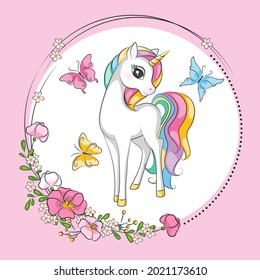 Beautiful illustration of cute little smiling unicorn  with mane  rainbow colors.  Art. Fashion illustration drawing in modern style. Children background. Magic pony. Sketch animals