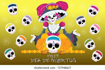 Beautiful illustration depicting the day of the dead in Mexican traditions