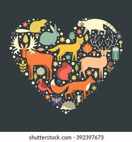 Beautiful illustration with forest animals in a heart shape. Love nature concept. Flat illustration of cute animals for poster, cover design, t-shirt design.