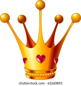 Beautiful illustration of a gold Princess crown